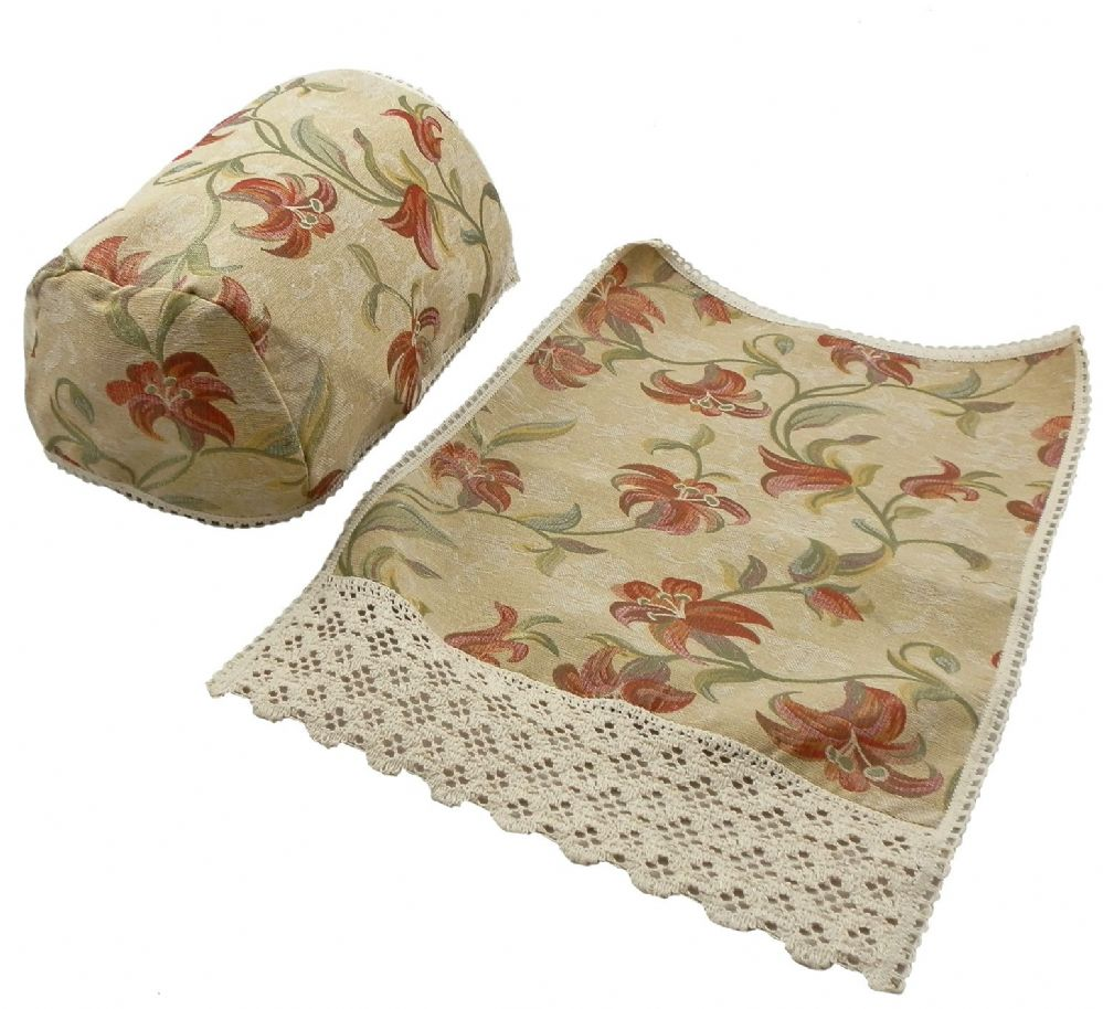 Elegant Floral Tapestry Lace Trimmed Arm Caps Amp Chair